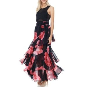 NWT Tov Holy Red Black Floral Chiffon Maxi Skirt